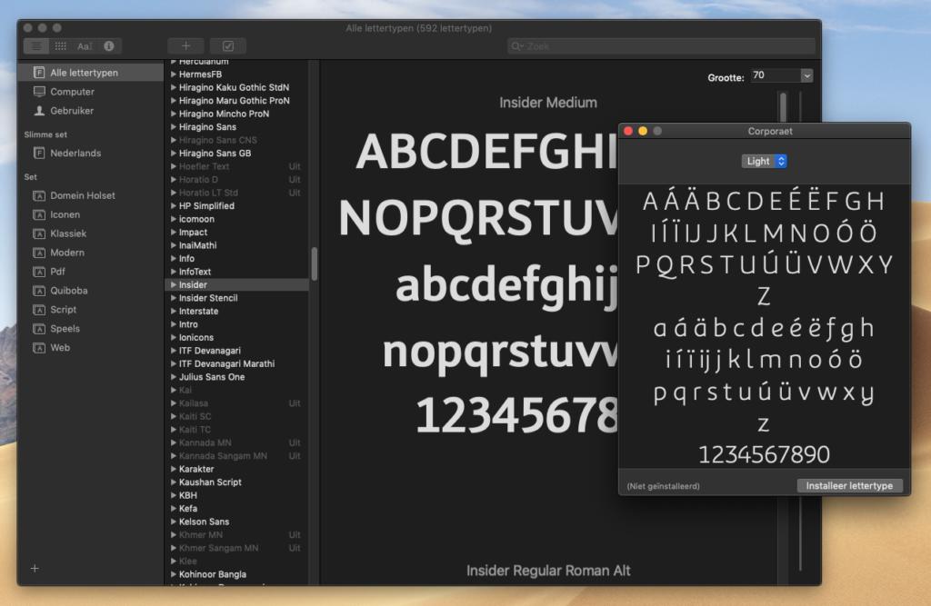 Lettertypecatalogus installatie MacOS - Rene Verkaart