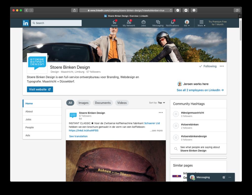 Stoere Binken Design Linkedin follow - Rene Verkaart