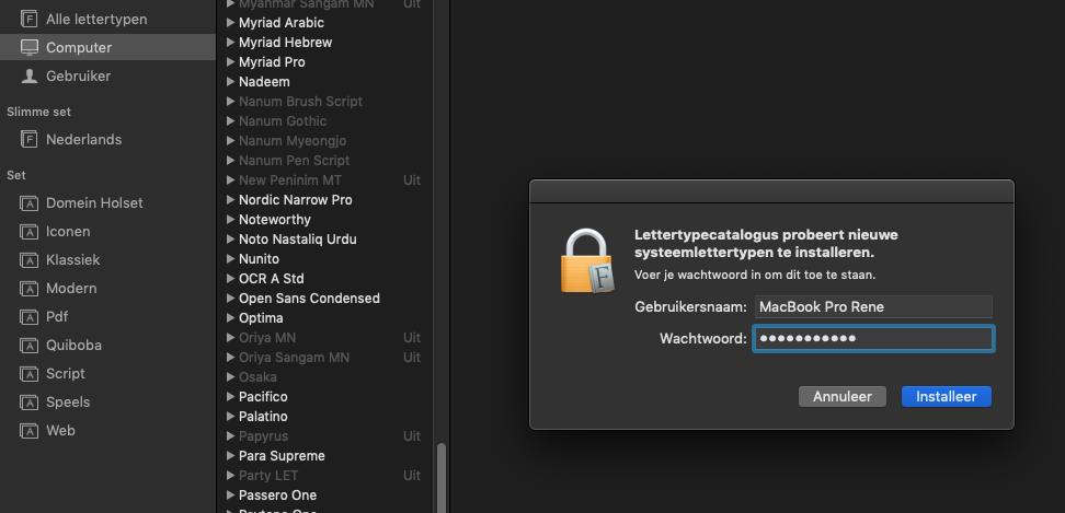 Lettertypen installeren en verwijderen op de Mac wachtwoord